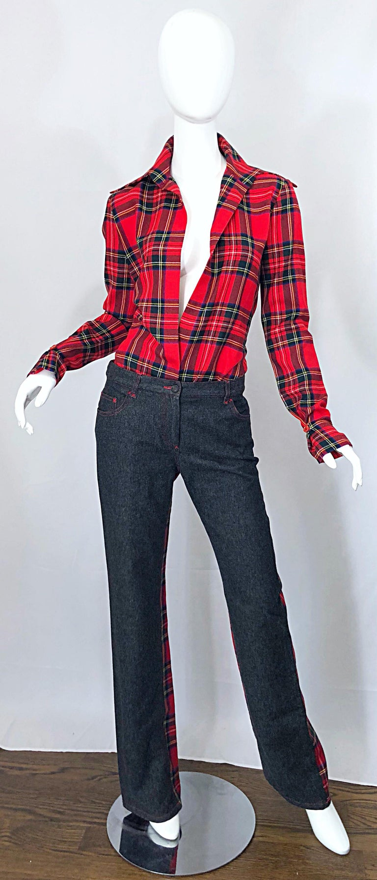 Rare nad sexy vintage late 90s DOLCE & GABBANA red tartan virgin wool plunging top with matching denim and red tartan plaid flared boot cut jeans! Top features a plunging neckline with an exaggerated collar and tapered sleeve cuffs. Low rise