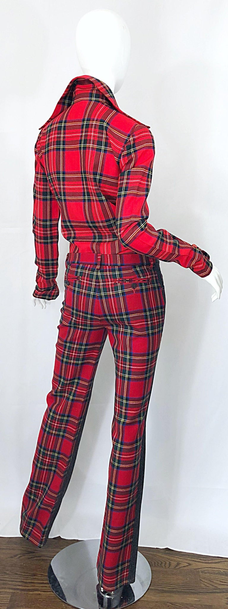Brown Rare 1990s Dolce & Gabbana Red Tartan Plaid Wool + Denim Flared Jeans and Shirt For Sale