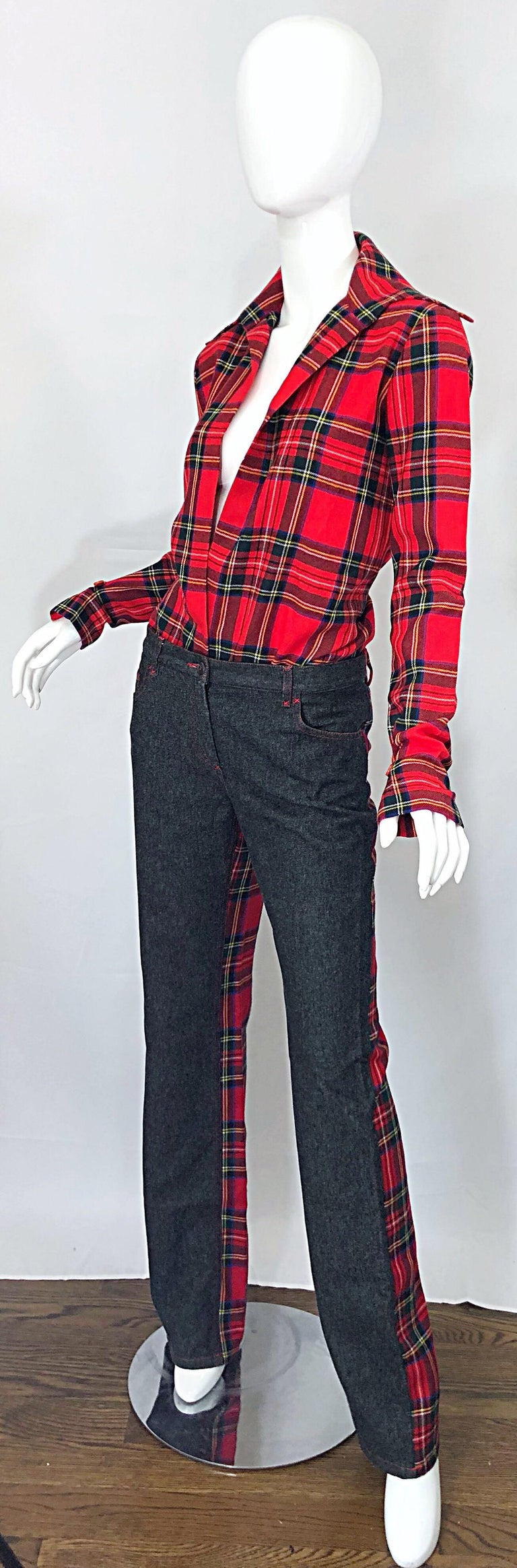 Women's Rare 1990s Dolce & Gabbana Red Tartan Plaid Wool + Denim Flared Jeans and Shirt For Sale