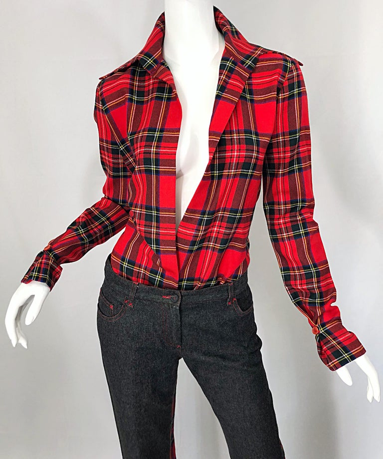 Rare 1990s Dolce & Gabbana Red Tartan Plaid Wool + Denim Flared Jeans and Shirt In Excellent Condition For Sale In Chicago, IL