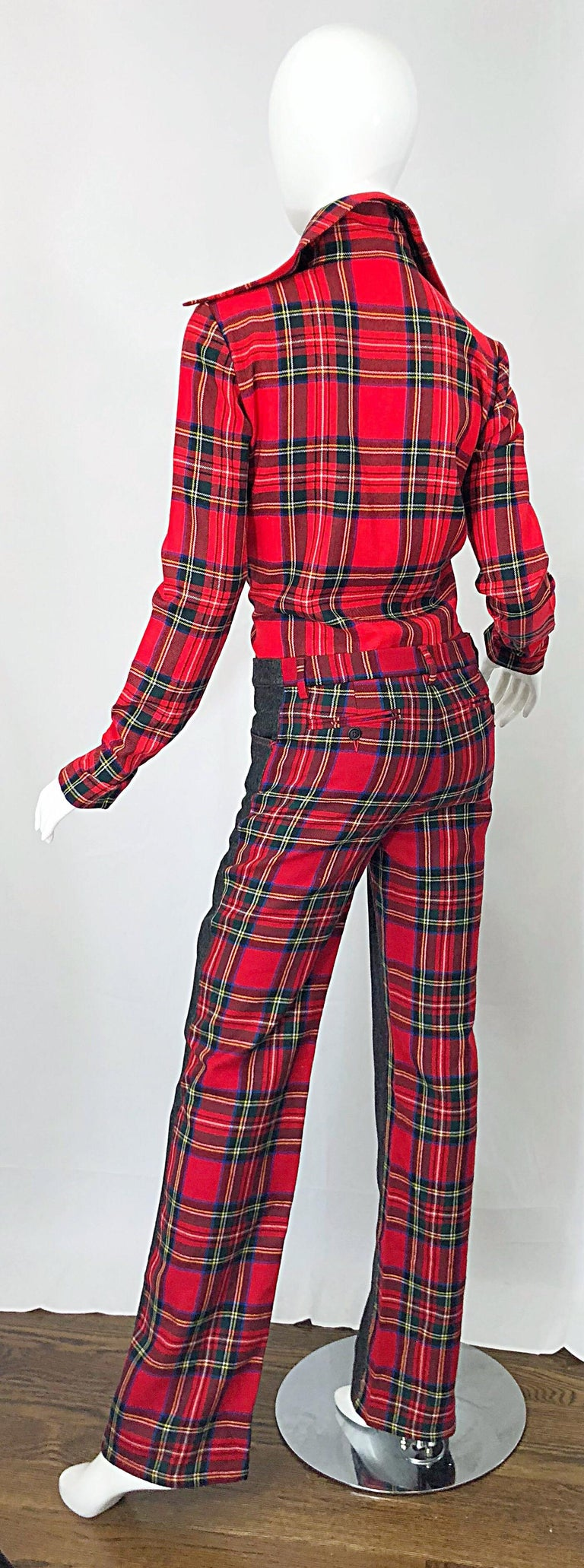 Rare 1990s Dolce & Gabbana Red Tartan Plaid Wool + Denim Flared Jeans and Shirt For Sale 1