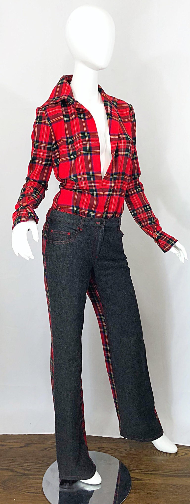 Rare 1990s Dolce & Gabbana Red Tartan Plaid Wool + Denim Flared Jeans and Shirt For Sale 2
