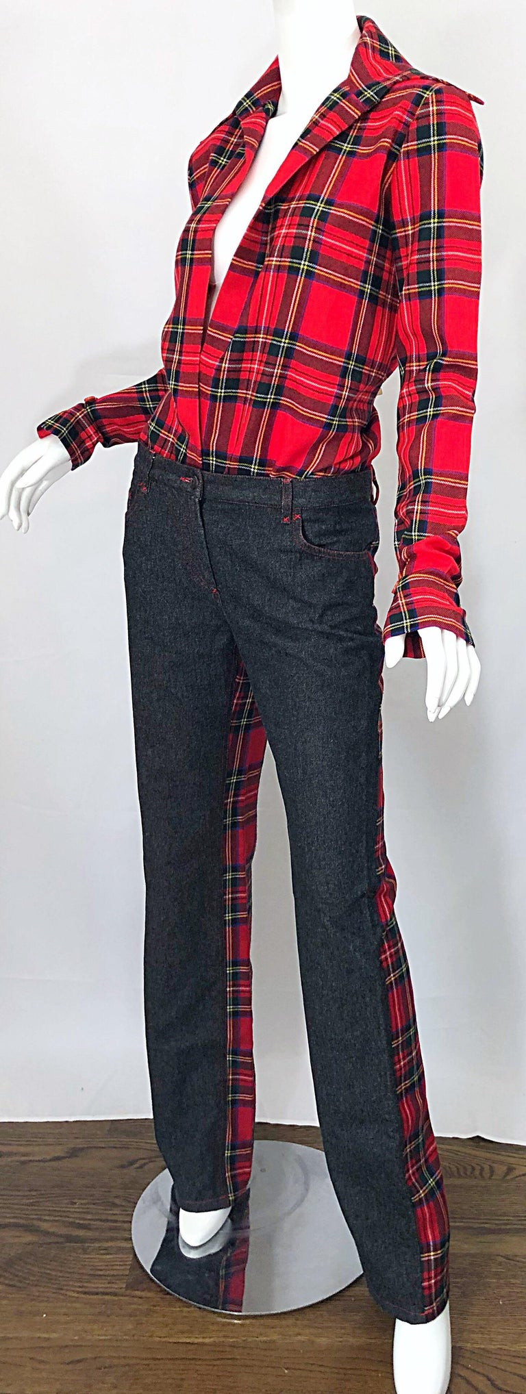 Rare 1990s Dolce & Gabbana Red Tartan Plaid Wool + Denim Flared Jeans and Shirt For Sale 3