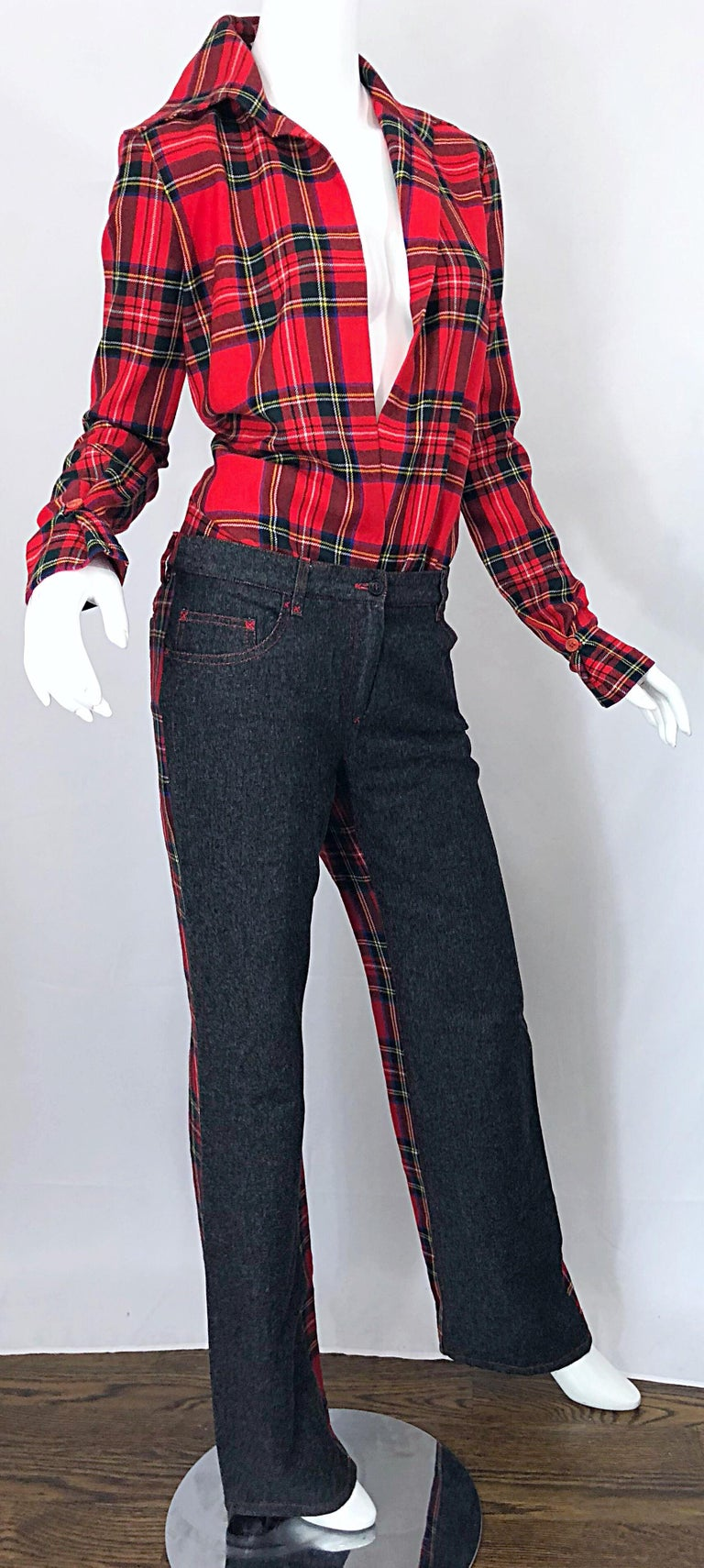 Rare 1990s Dolce & Gabbana Red Tartan Plaid Wool + Denim Flared Jeans and Shirt For Sale 5