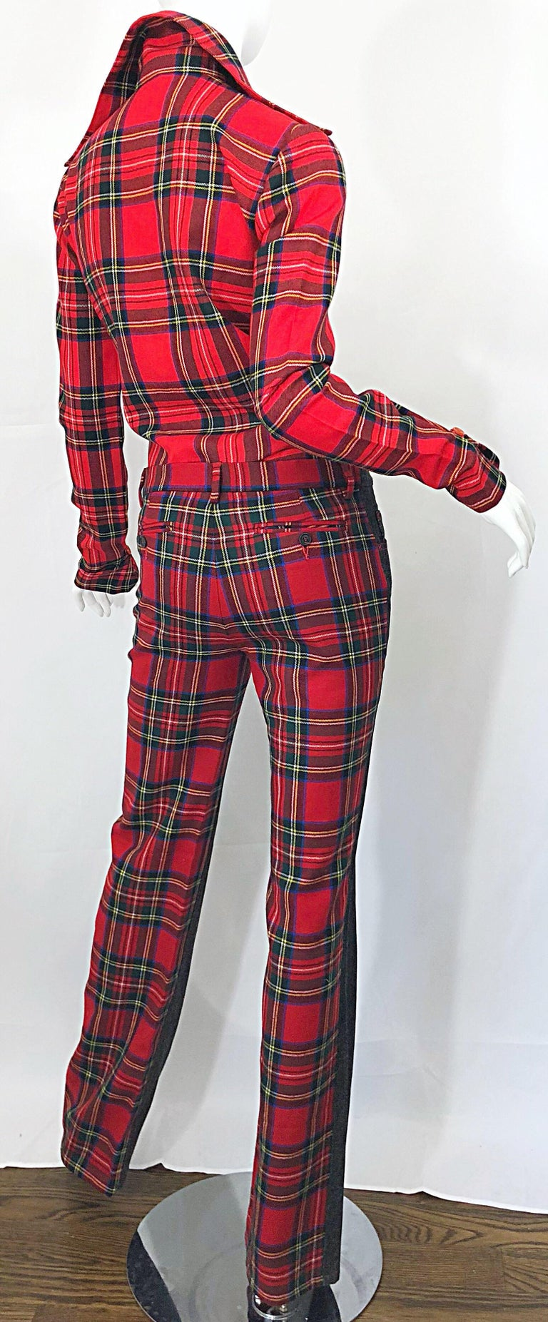 Rare 1990s Dolce & Gabbana Red Tartan Plaid Wool + Denim Flared Jeans and Shirt For Sale 6
