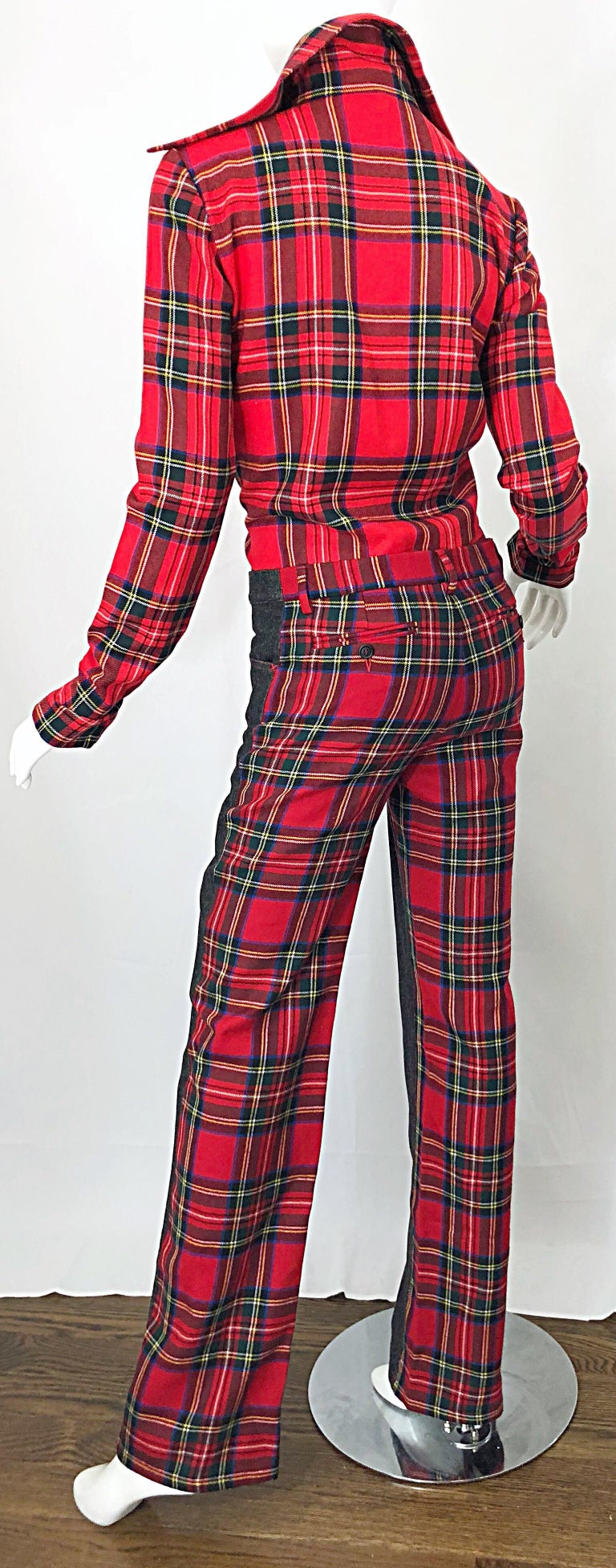 Rare 1990s Dolce & Gabbana Red Tartan Plaid Wool + Denim Flared Jeans and Shirt For Sale 7
