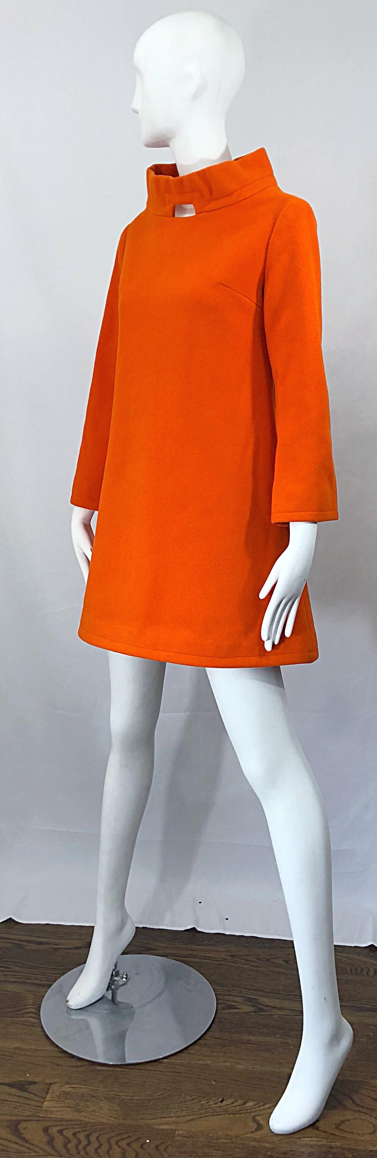 Vintage 60s Brown Orange TAPESTRY CORSET Dolly MOD Wool Dress 12 M 1960s Modette