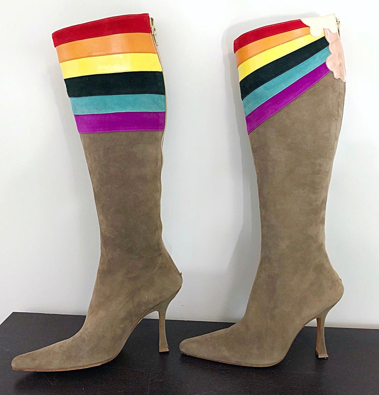 Brown New Ashley Dearborn Size 36 / 6 Gay Pride Pegasus Rainbow High Heel Suede Boots For Sale