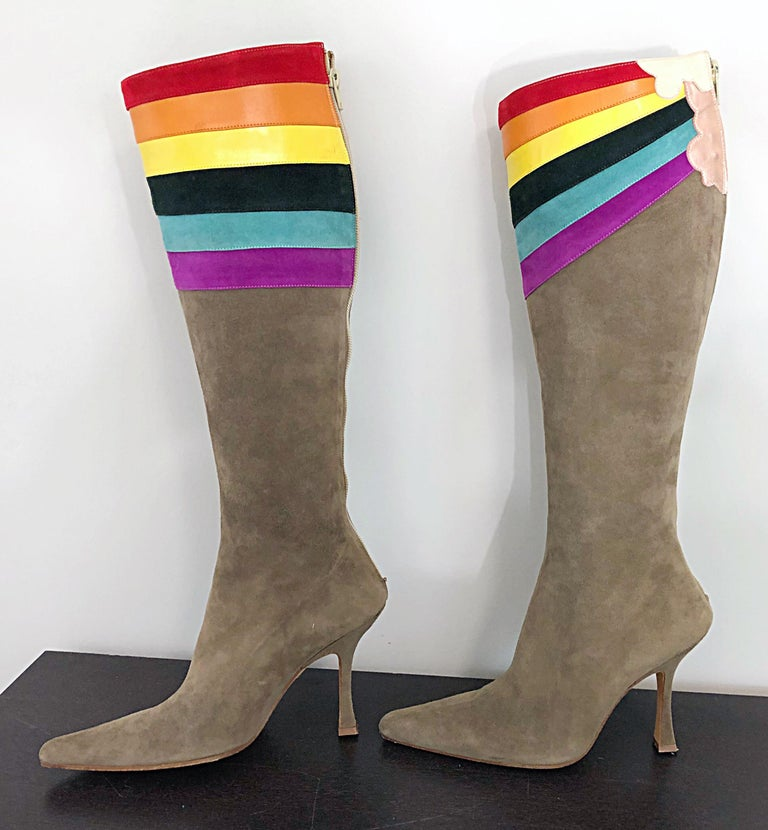 New Ashley Dearborn Size 36 / 6 Gay Pride Pegasus Rainbow High Heel Suede Boots For Sale 4