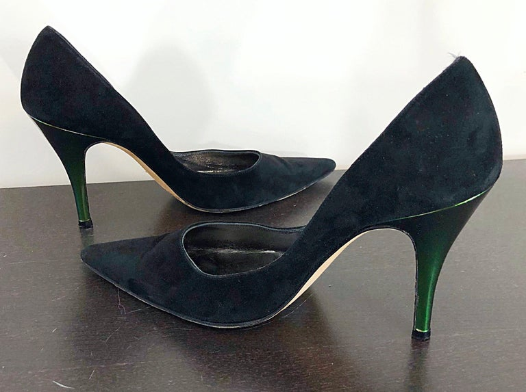 Sexy vintage late 90s CHRISTIAN LACROIX black suede leather and green metallic high heel pointy toe shoes! Sleek design, with cutting edge design. Metallic iridescent green heel. The perfect black heel with just the right amount of pop! Great with