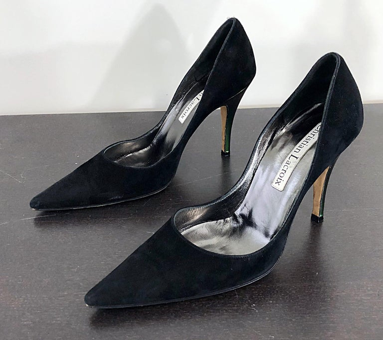 Sexy Vintage Christian Lacroix Size 37 / 7 Black + Green Suede 1990s high Heels In Excellent Condition For Sale In Chicago, IL