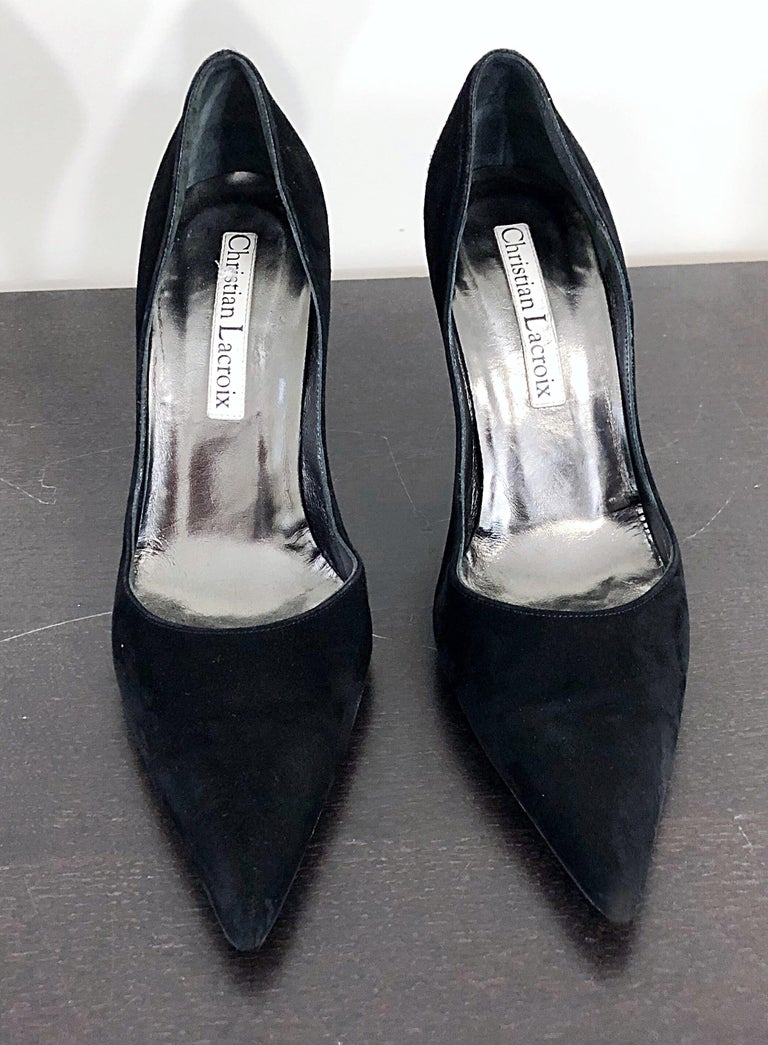 Sexy Vintage Christian Lacroix Size 37 / 7 Black + Green Suede 1990s high Heels For Sale 1