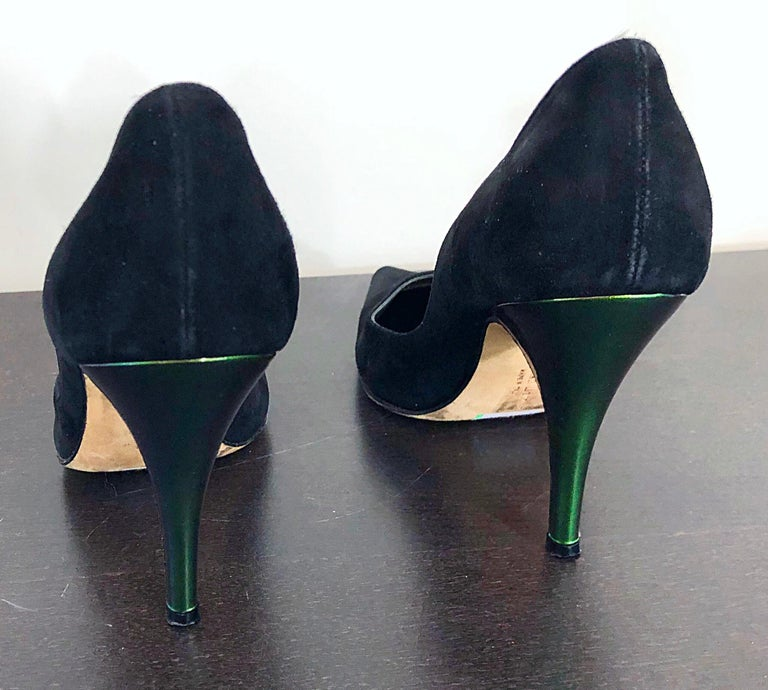 Sexy Vintage Christian Lacroix Size 37 / 7 Black + Green Suede 1990s high Heels For Sale 2