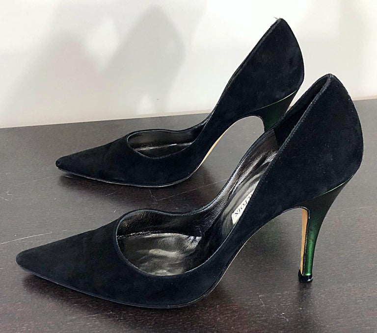 Sexy Vintage Christian Lacroix Size 37 / 7 Black + Green Suede 1990s high Heels For Sale 3