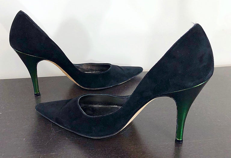 Sexy Vintage Christian Lacroix Size 37 / 7 Black + Green Suede 1990s high Heels For Sale 4