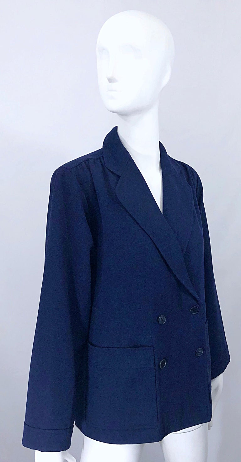 Chic 1960s Yves Saint Laurent Navy Blue Lightweight Wool