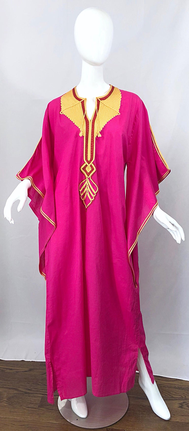 Red Amazing 1970s Hot Pink + Yellow Angel Sleeve Vintage 70s Kaftan Maxi Dress For Sale