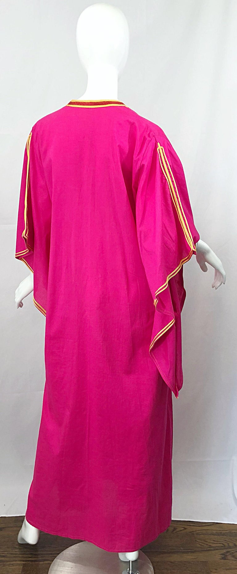 Amazing 1970s Hot Pink + Yellow Angel Sleeve Vintage 70s Kaftan Maxi Dress In Excellent Condition For Sale In Chicago, IL