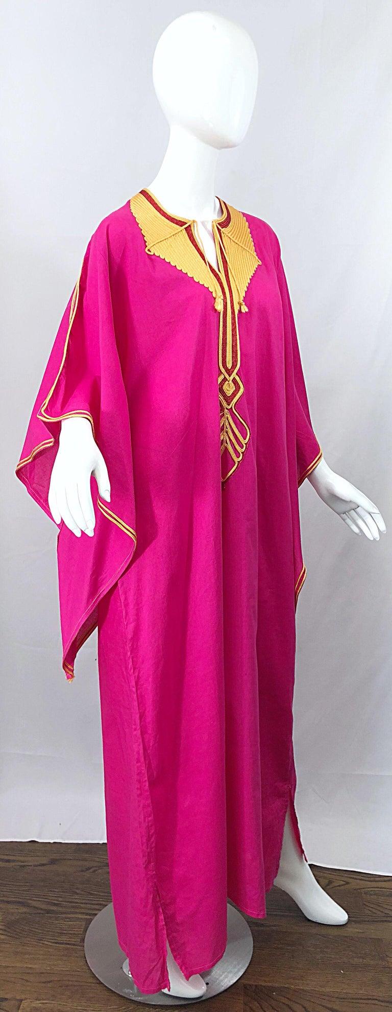 Women's Amazing 1970s Hot Pink + Yellow Angel Sleeve Vintage 70s Kaftan Maxi Dress For Sale