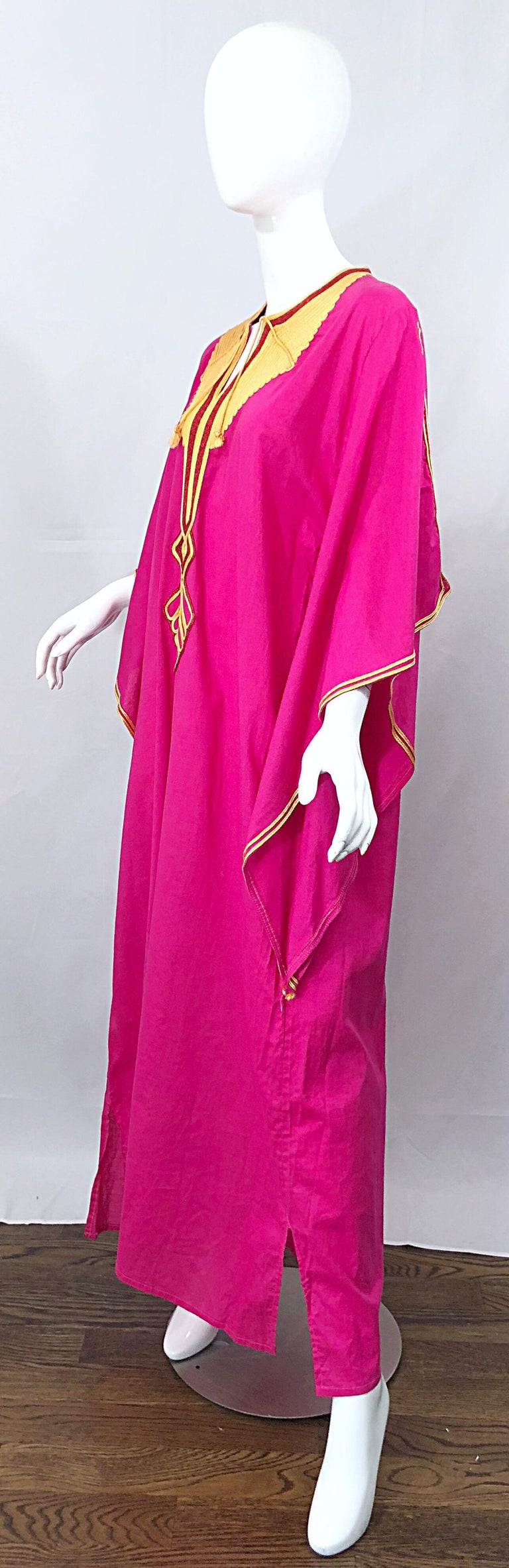 Amazing 1970s Hot Pink + Yellow Angel Sleeve Vintage 70s Kaftan Maxi Dress For Sale 1
