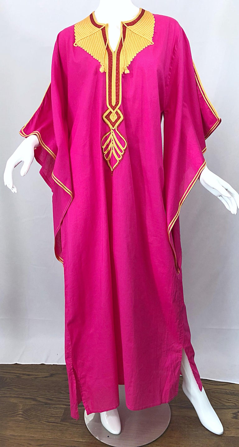 Amazing 1970s Hot Pink + Yellow Angel Sleeve Vintage 70s Kaftan Maxi Dress For Sale 2