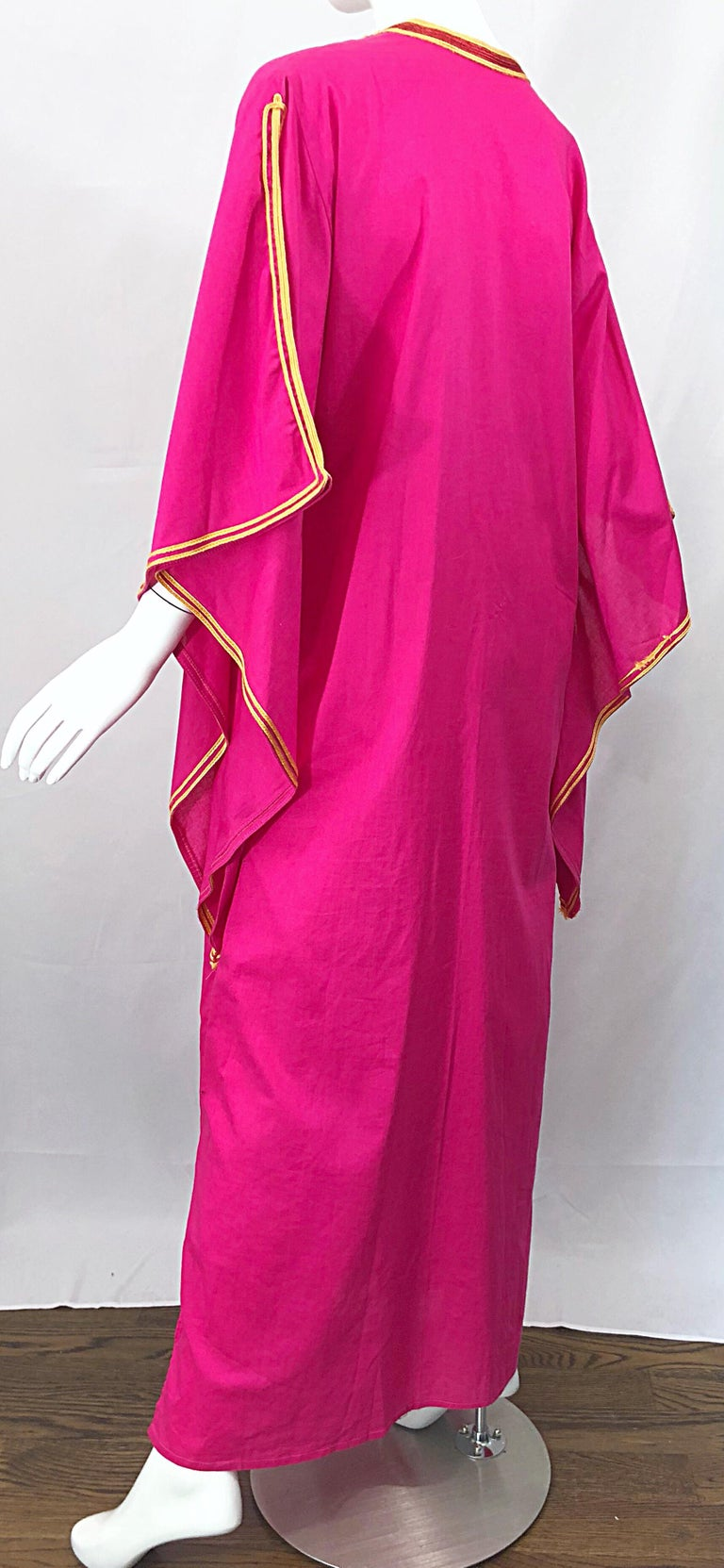 Amazing 1970s Hot Pink + Yellow Angel Sleeve Vintage 70s Kaftan Maxi Dress For Sale 3