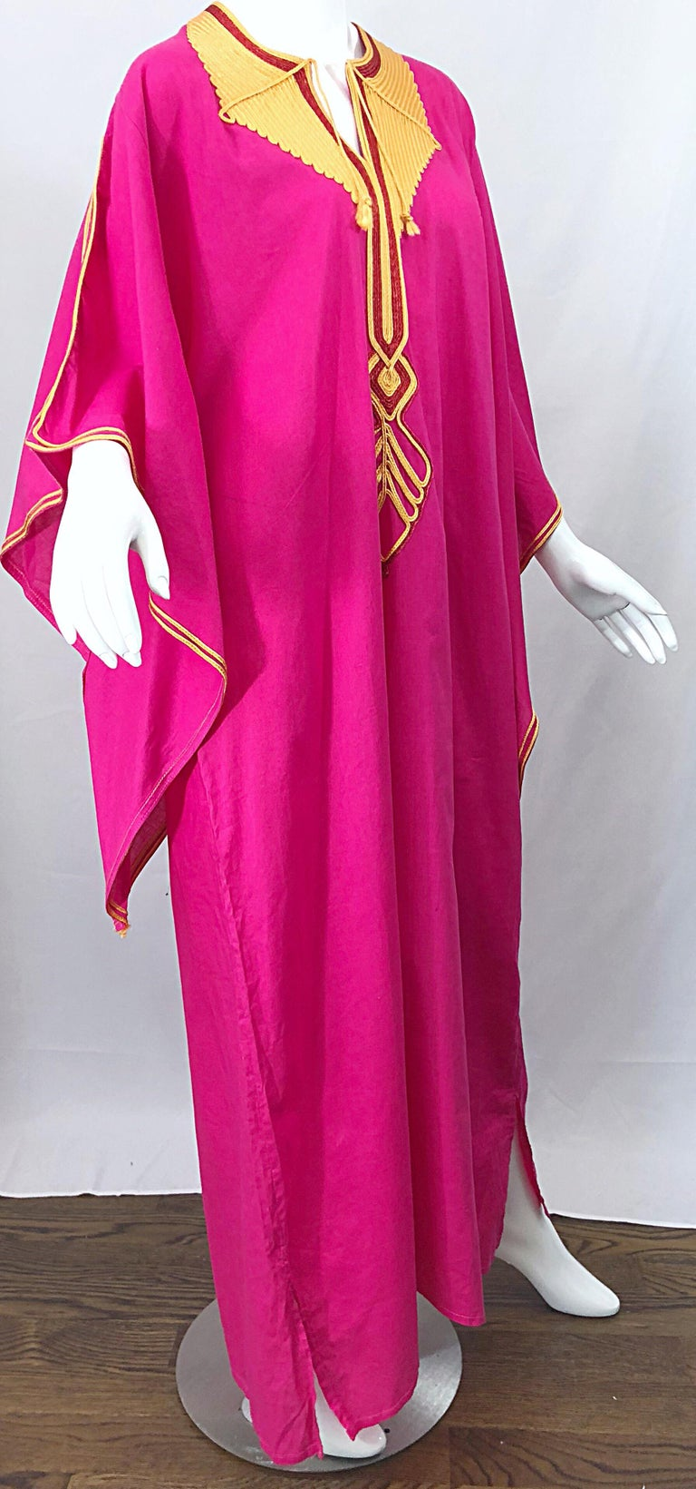 Amazing 1970s Hot Pink + Yellow Angel Sleeve Vintage 70s Kaftan Maxi Dress For Sale 4