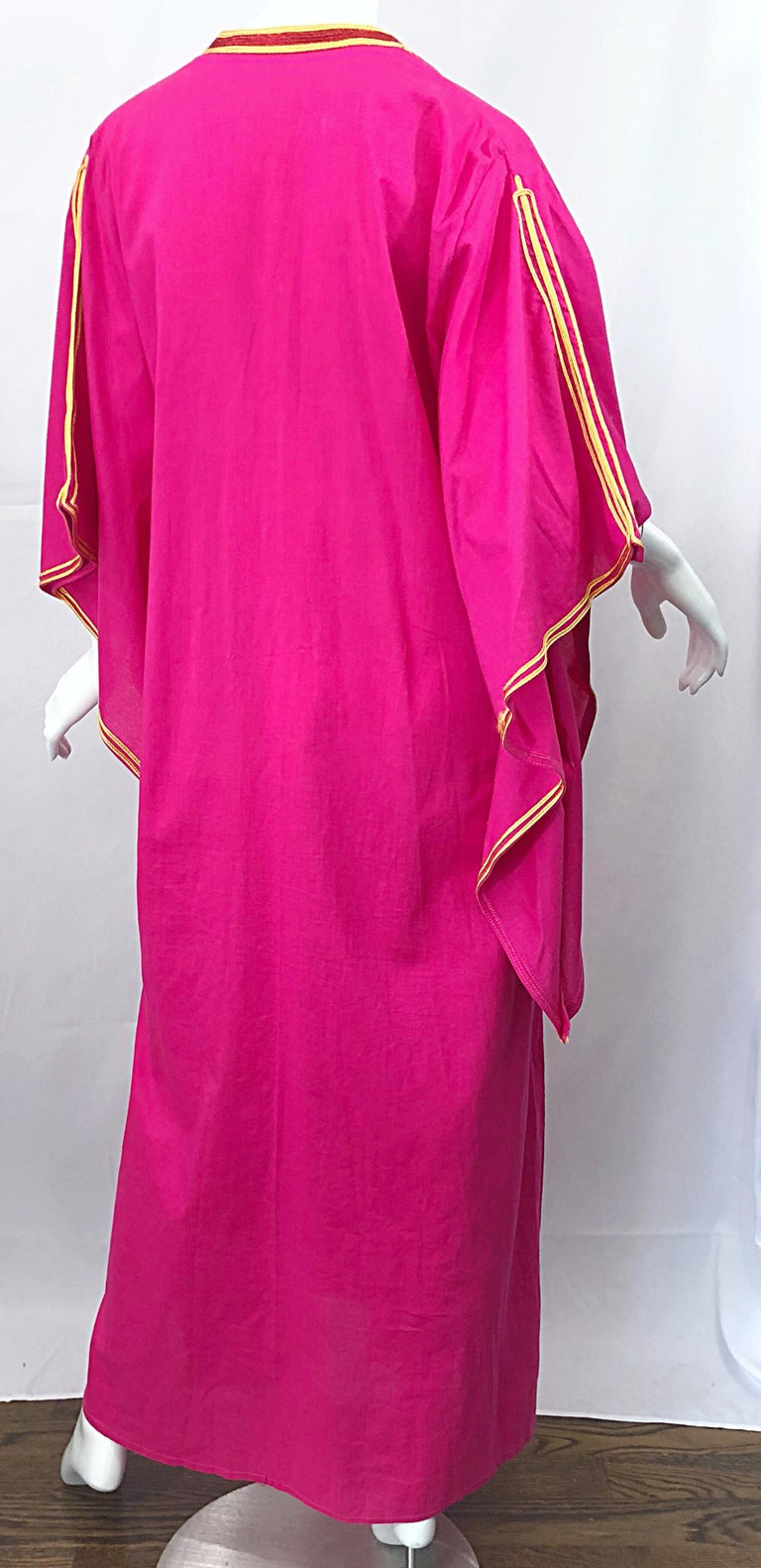 Amazing 1970s Hot Pink + Yellow Angel Sleeve Vintage 70s Kaftan Maxi Dress For Sale 5