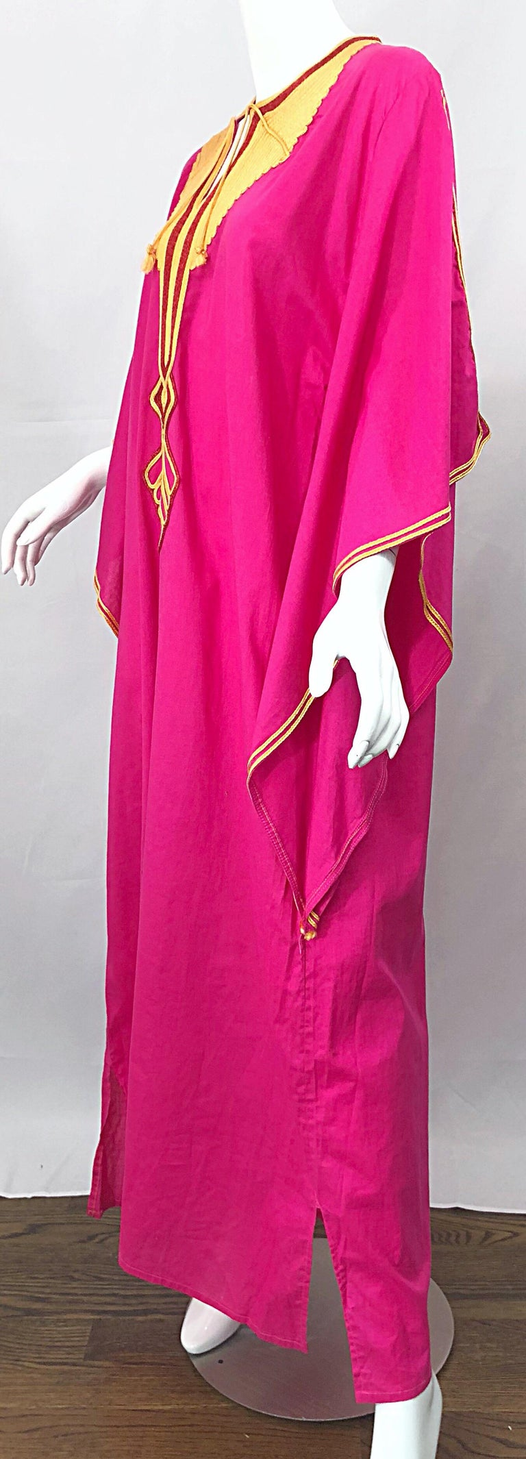 Amazing 1970s Hot Pink + Yellow Angel Sleeve Vintage 70s Kaftan Maxi Dress For Sale 6