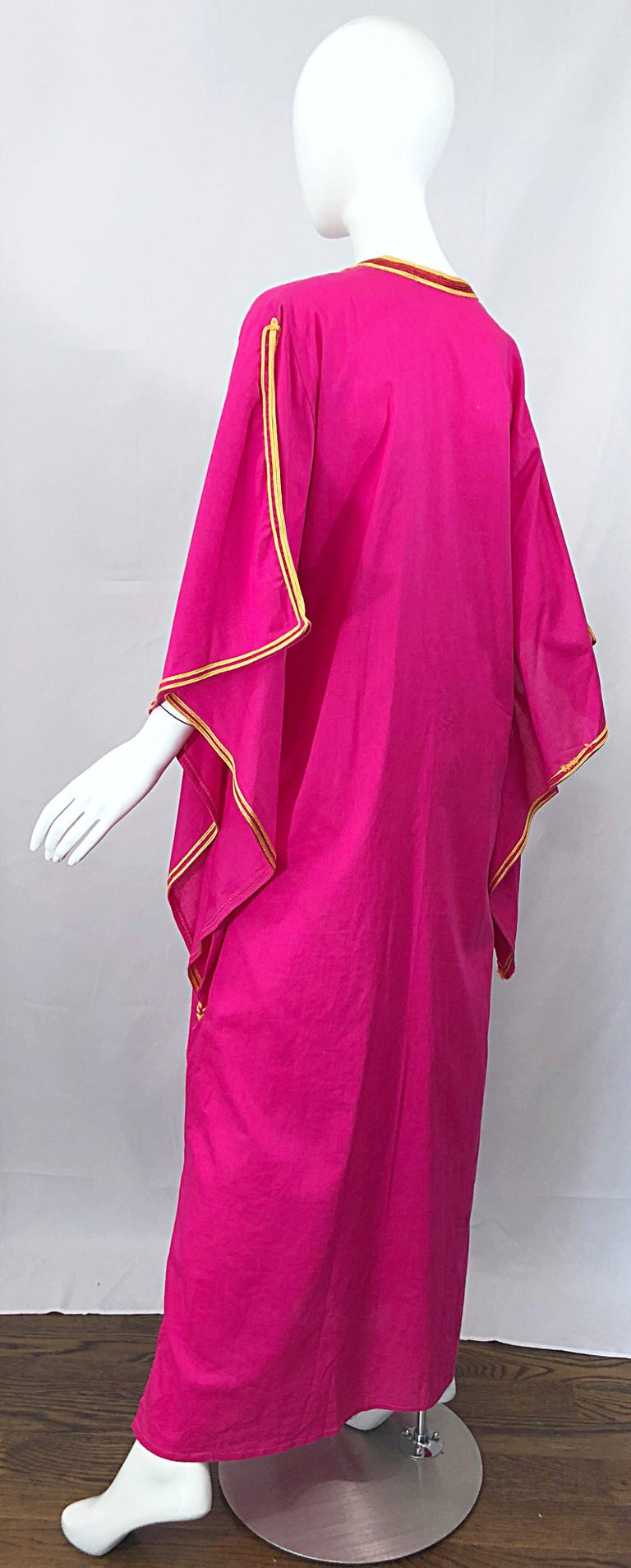 Amazing 1970s Hot Pink + Yellow Angel Sleeve Vintage 70s Kaftan Maxi Dress For Sale 7