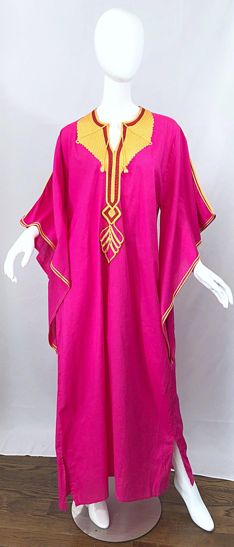 Amazing 1970s Hot Pink + Yellow Angel Sleeve Vintage 70s Kaftan Maxi Dress For Sale 8
