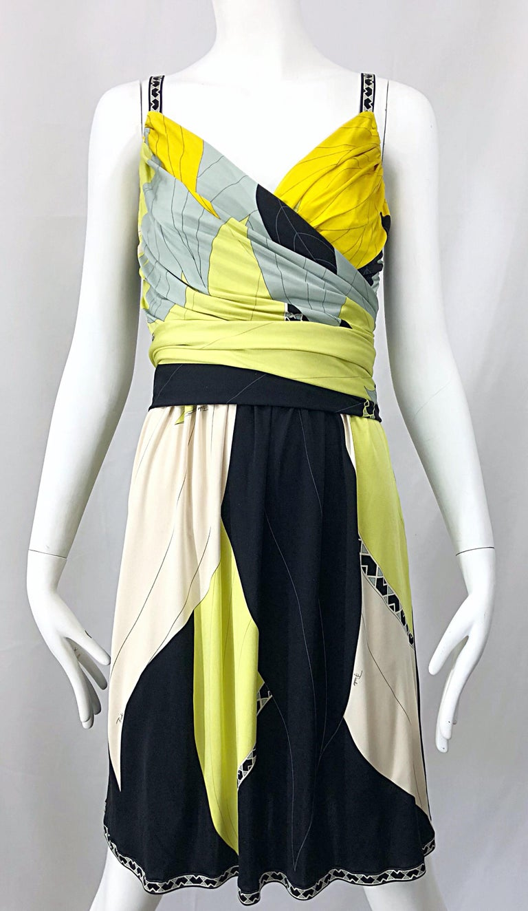 White Emilio Pucci 1990s Size 8 Chartreuse Black Ivory Kaleidoscope Silk Jersey Dress For Sale
