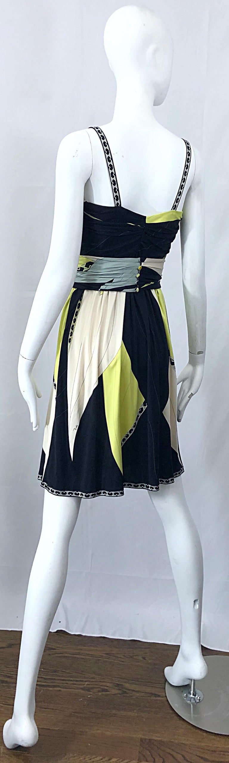 Emilio Pucci 1990s Size 8 Chartreuse Black Ivory Kaleidoscope Silk Jersey Dress For Sale 4