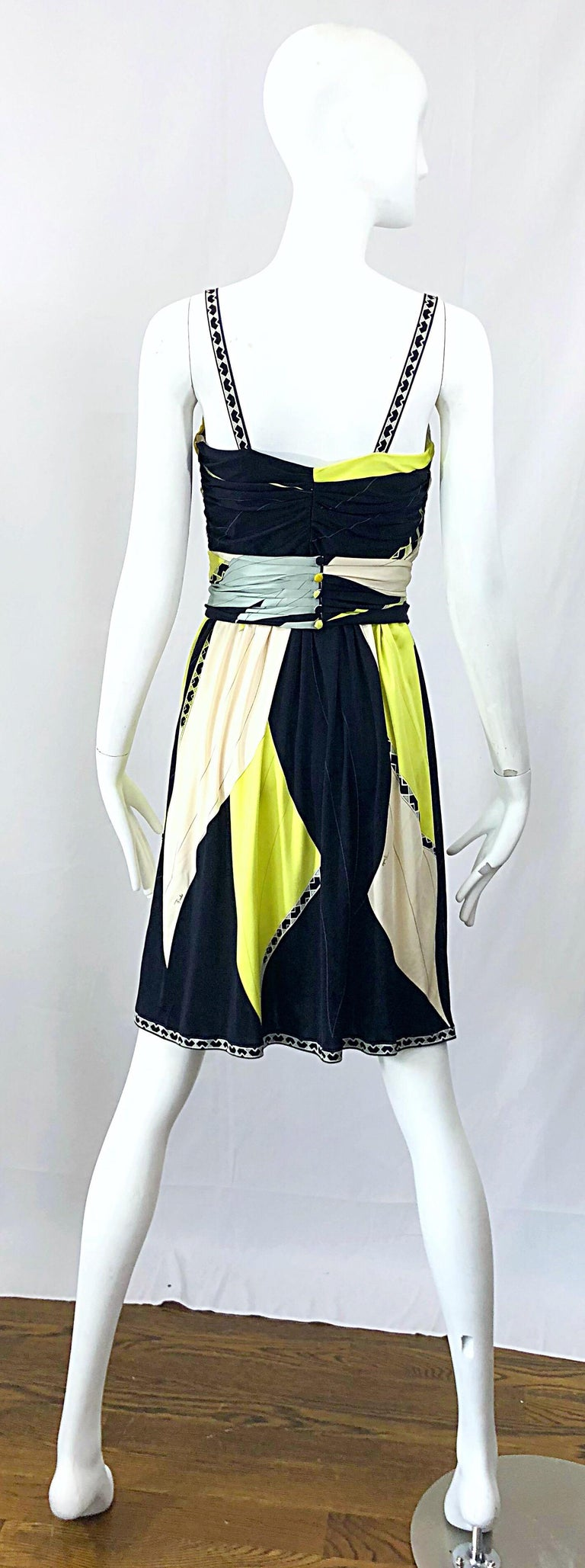 Emilio Pucci 1990s Size 8 Chartreuse Black Ivory Kaleidoscope Silk Jersey Dress For Sale 6
