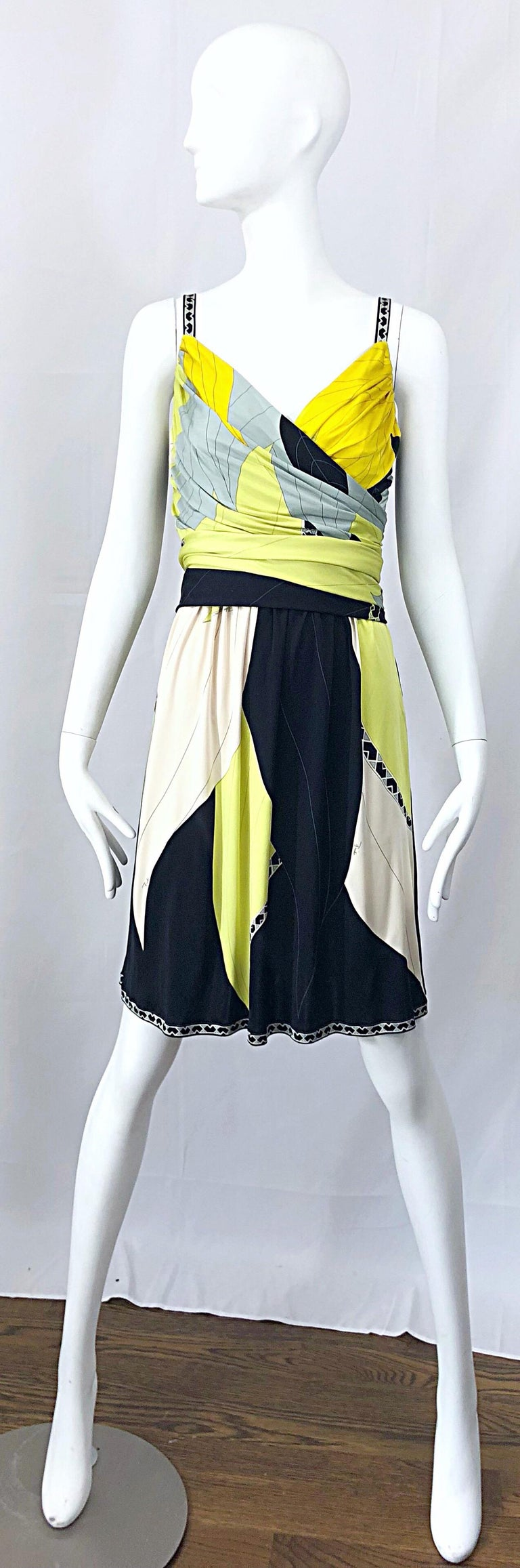Emilio Pucci 1990s Size 8 Chartreuse Black Ivory Kaleidoscope Silk Jersey Dress For Sale 8