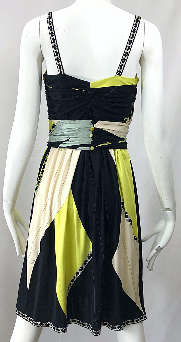 Emilio Pucci 1990s Size 8 Chartreuse Black Ivory Kaleidoscope Silk Jersey Dress For Sale 9