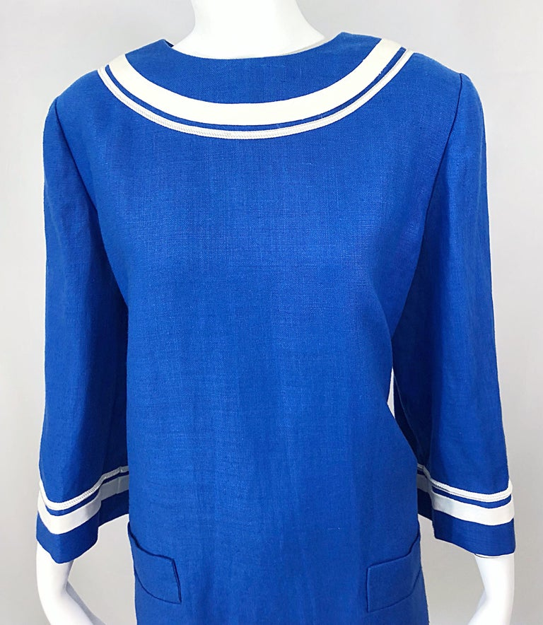 2b2136ab25 Vintage Bill Blass Size 16 Blue + White Nautical Plus Size Linen Dress In Excellent  Condition