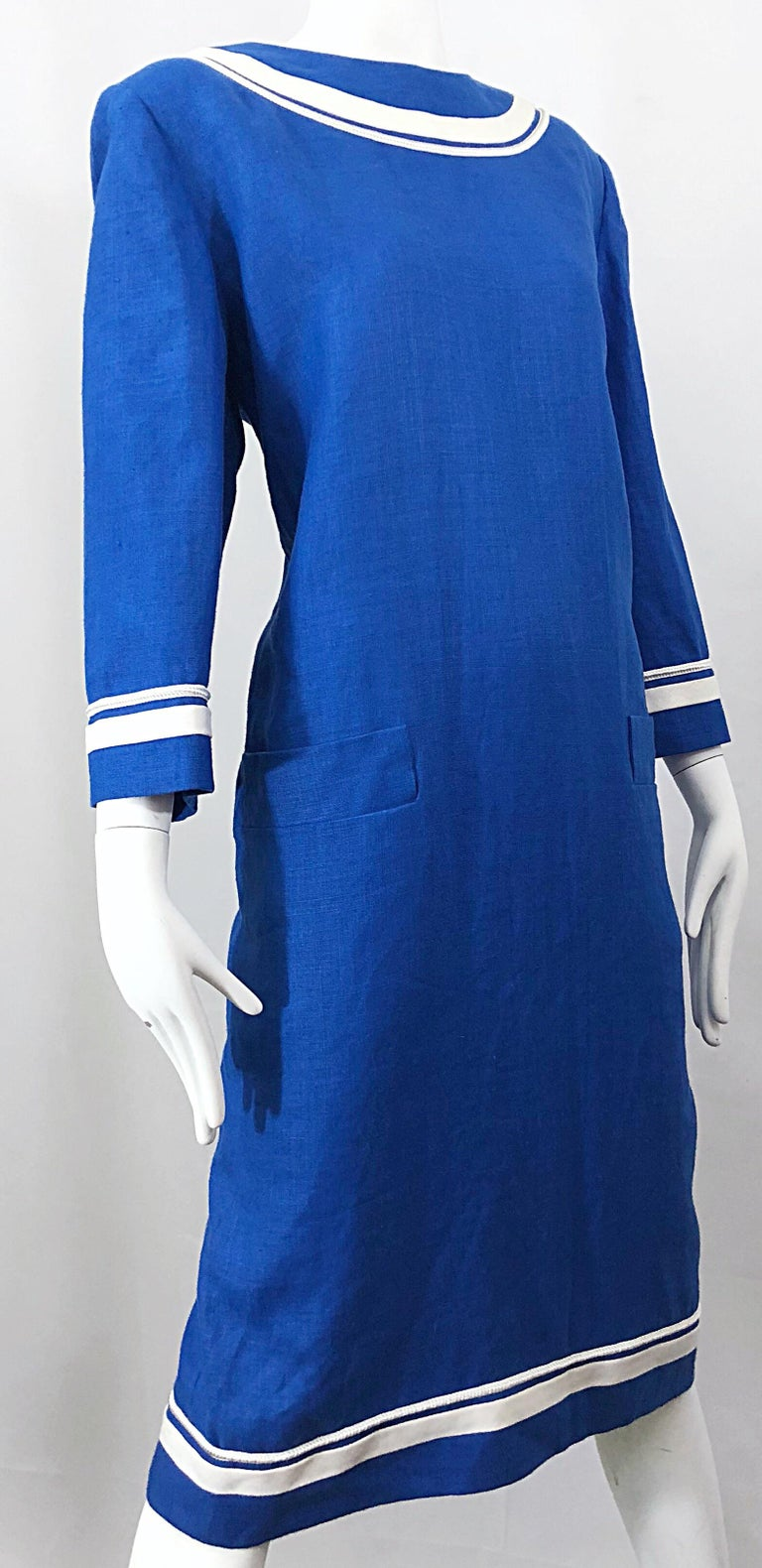 774c4e7106 Vintage Bill Blass Size 16 Blue + White Nautical Plus Size Linen Dress For  Sale 1