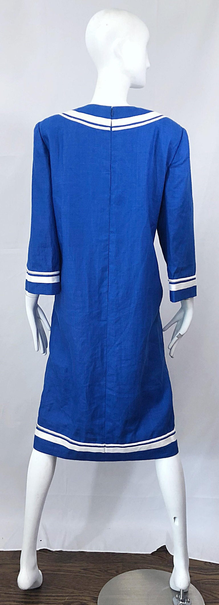 904bca2aa7 Vintage Bill Blass Size 16 Blue + White Nautical Plus Size Linen Dress For  Sale 6