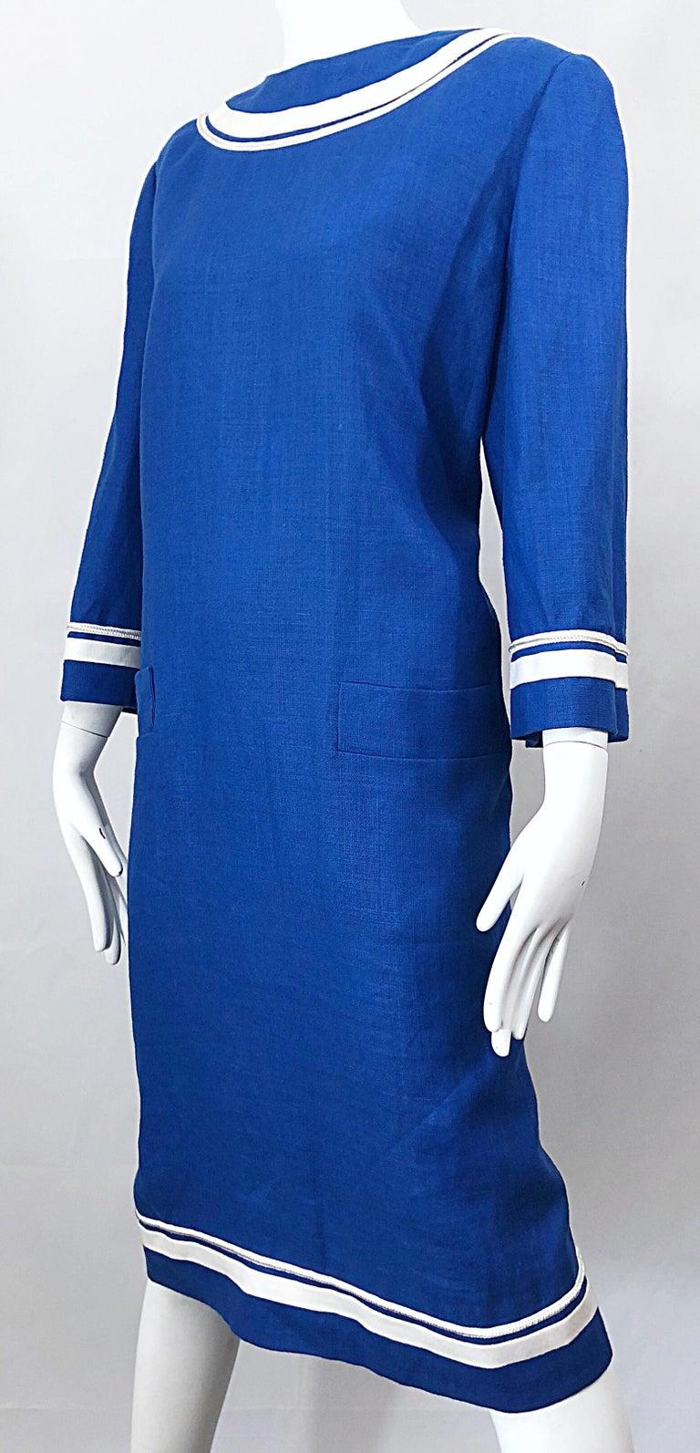 d69e49c9e2 Vintage Bill Blass Size 16 Blue + White Nautical Plus Size Linen Dress For  Sale 7