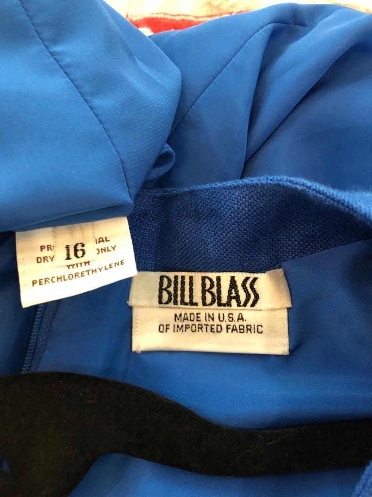 e415a0d534 Vintage Bill Blass Size 16 Blue + White Nautical Plus Size Linen Dress For  Sale 10