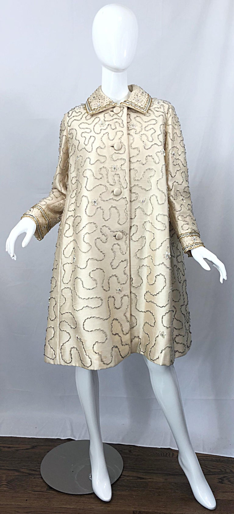 Gray Gorgeous 1960s Jean Lutece Ivory Silk Beaded Two Piece 60s A Line Dress + Jacket For Sale
