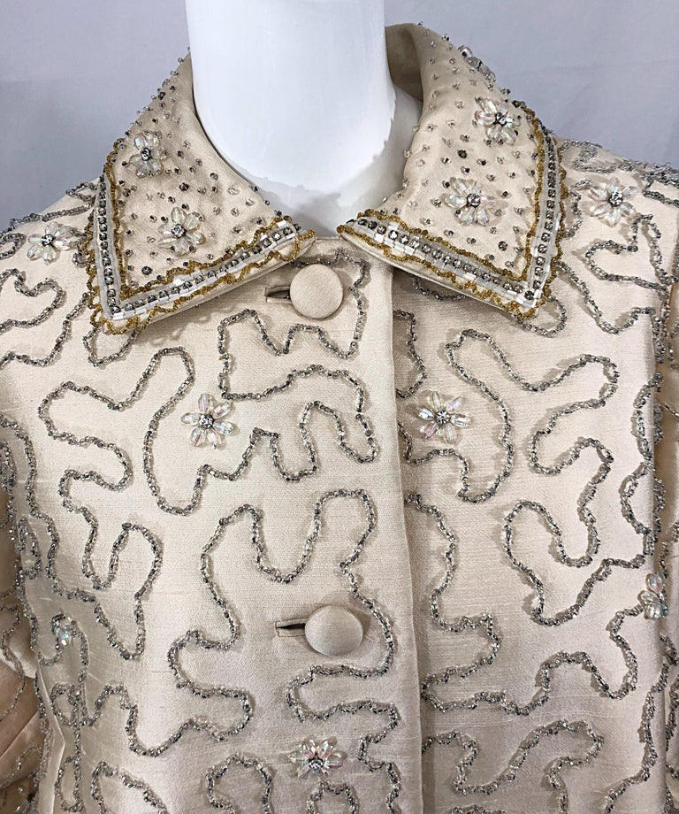 Gorgeous 1960s Jean Lutece Ivory Silk Beaded Two Piece 60s A Line Dress + Jacket In Good Condition For Sale In Chicago, IL