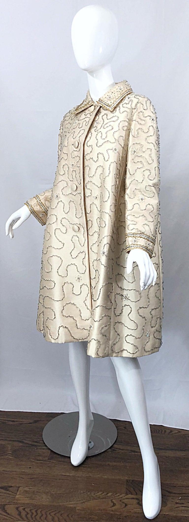 Women's Gorgeous 1960s Jean Lutece Ivory Silk Beaded Two Piece 60s A Line Dress + Jacket For Sale