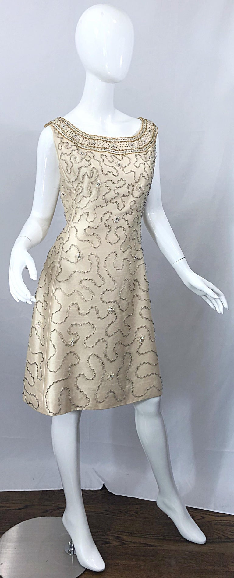Gorgeous 1960s Jean Lutece Ivory Silk Beaded Two Piece 60s A Line Dress + Jacket For Sale 1