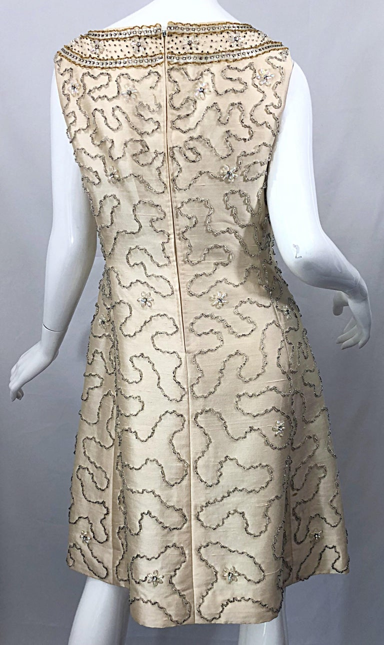 Gorgeous 1960s Jean Lutece Ivory Silk Beaded Two Piece 60s A Line Dress + Jacket For Sale 2