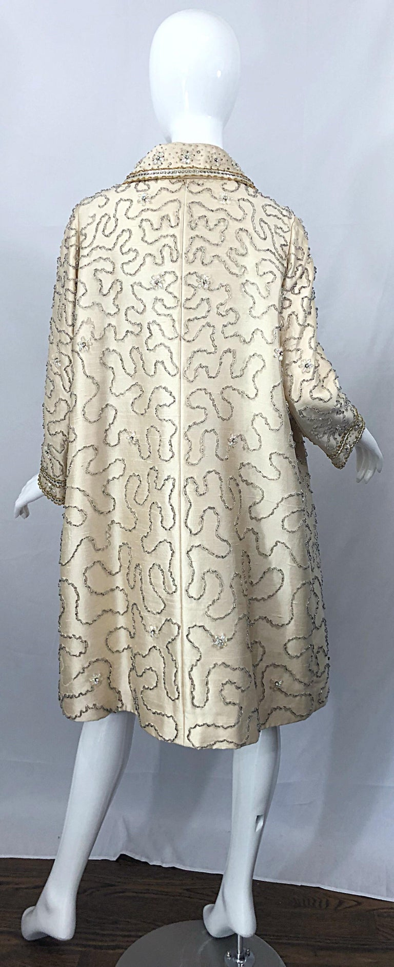Gorgeous 1960s Jean Lutece Ivory Silk Beaded Two Piece 60s A Line Dress + Jacket For Sale 3