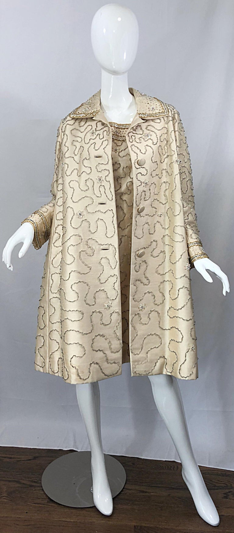 Gorgeous 1960s Jean Lutece Ivory Silk Beaded Two Piece 60s A Line Dress + Jacket For Sale 4