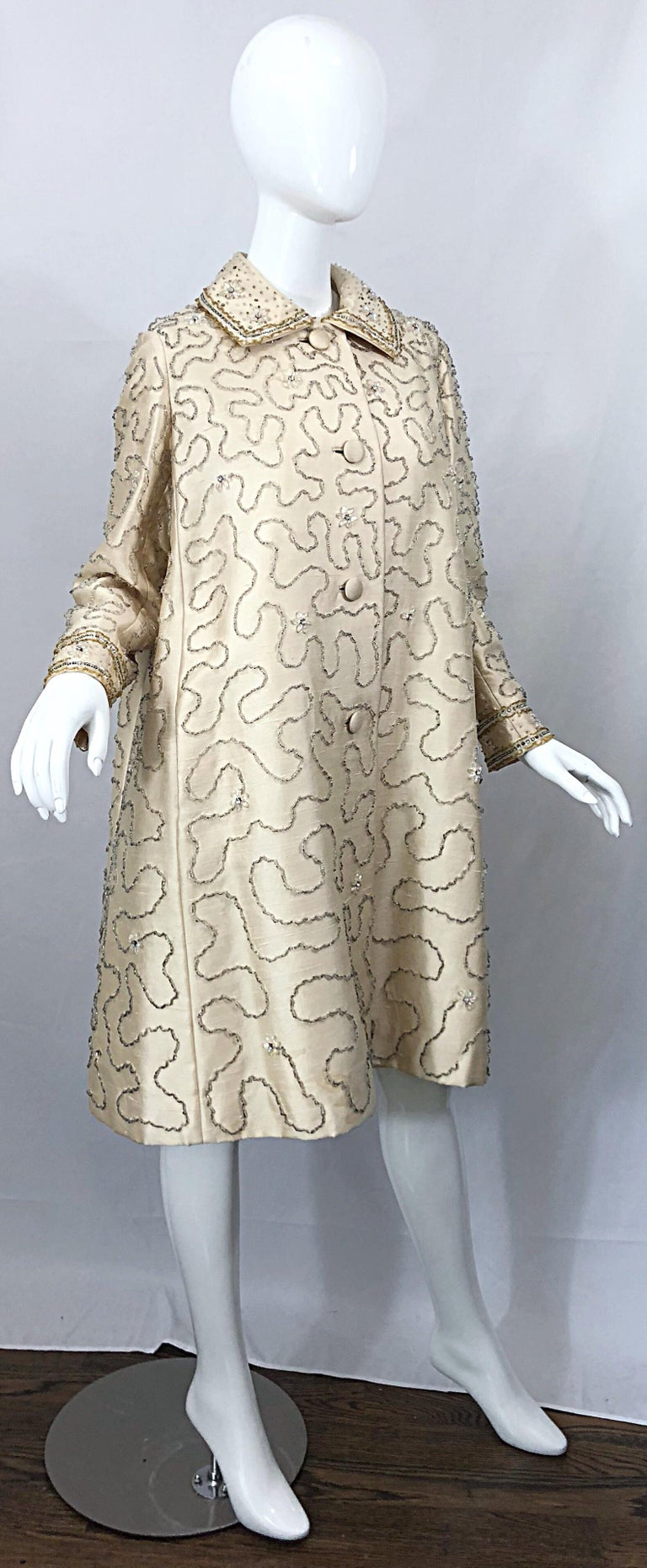 Gorgeous 1960s Jean Lutece Ivory Silk Beaded Two Piece 60s A Line Dress + Jacket For Sale 5