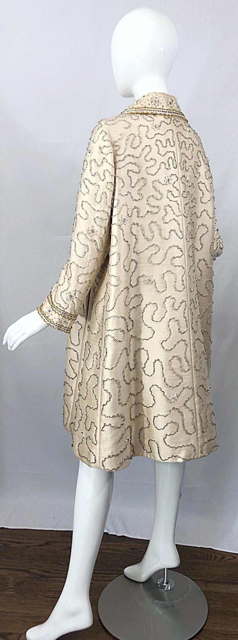 Gorgeous 1960s Jean Lutece Ivory Silk Beaded Two Piece 60s A Line Dress + Jacket For Sale 6